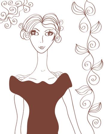 Retro girl Vector