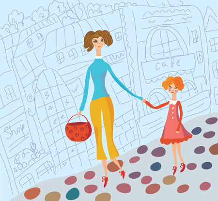Young mother and daughter together in the city Stock Vector - 7778954