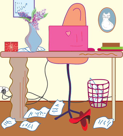 flowers in vase: Woman pink cute  office cartoon