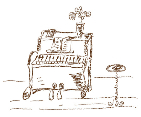 piano background: Old piano sketch