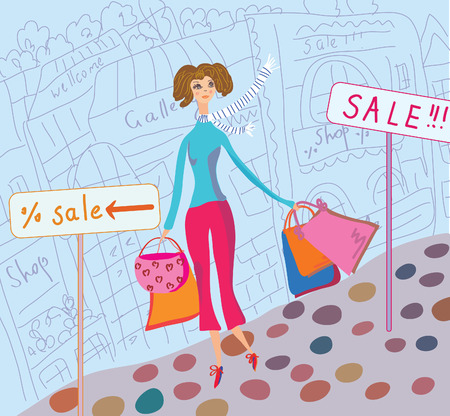 Cute girl with shopping bags in the city Vector