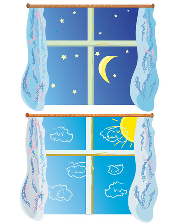 window curtains: Window at day and night