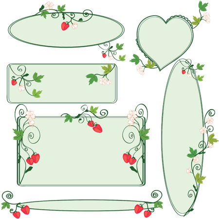 Floral ornate frames set with strawberries Vector