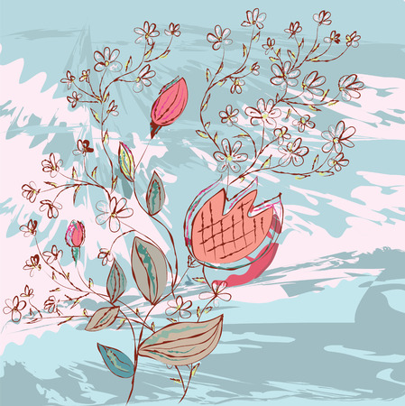 Grunge background with flowers and branches Vector