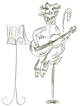 Cat playing guitar sketch Stock Vector - 7778961