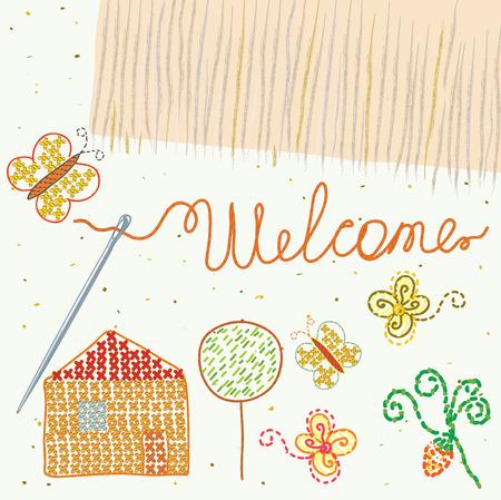 Gestaltungselement für Stickerei mit Willkommen-label