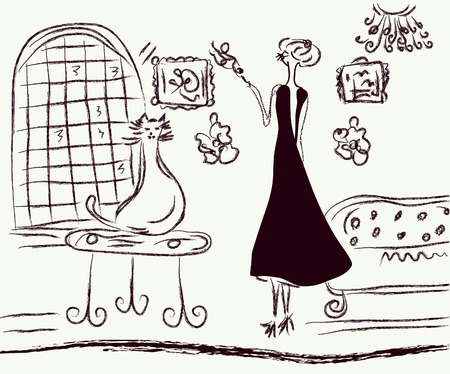 home fashion: Retro woman  in the room sketch
