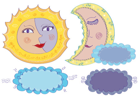 Vector sun, moon and clouds in cartoon style Vector