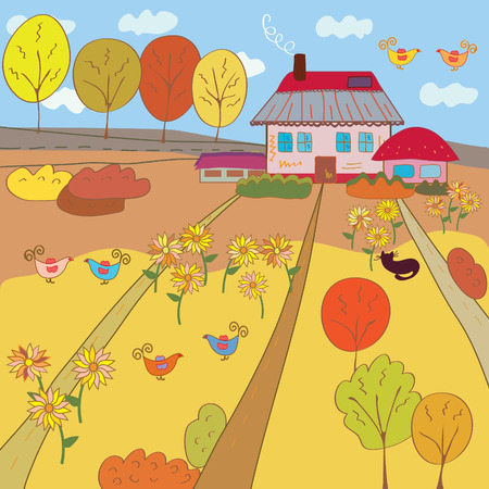 pink hills: Autumn landscape with farm house Illustration