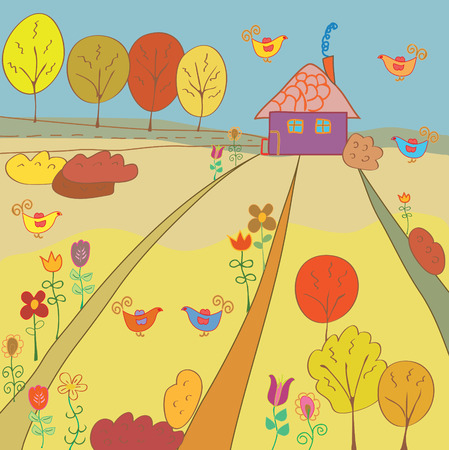 Autumn rural landscape with house Vector