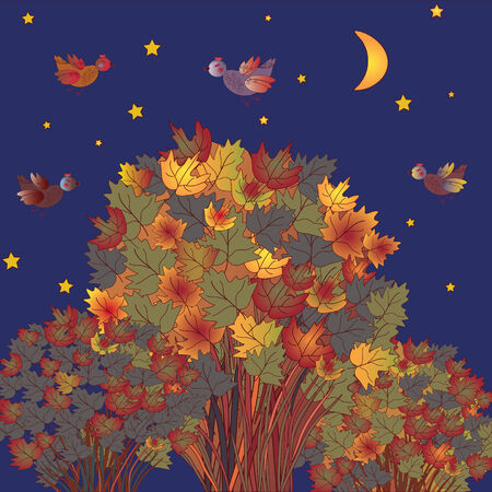 Autumn scene with birds and trees at night Vector