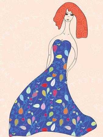 Fashion girl fantasy card Stock Vector - 7779056