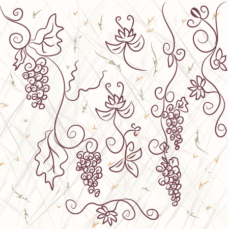 Grape design elements on the grunge background Stock Vector - 7778965
