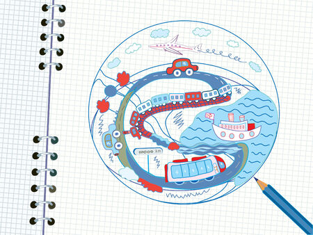 airplain: Travel doodle in the notebook