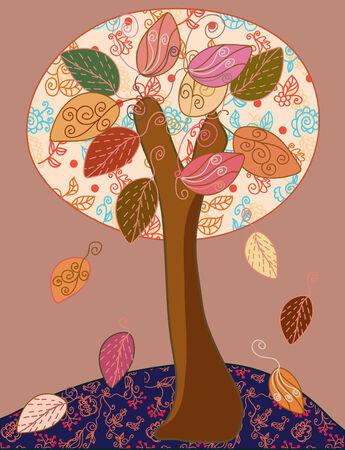Fairytale autumn tree Stock Vector - 7779033