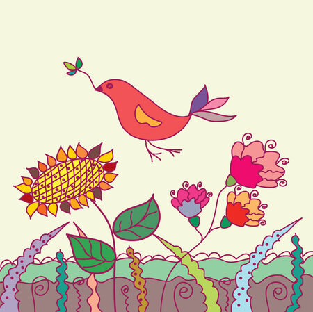 Cute card with bird and flowers in grass Vector