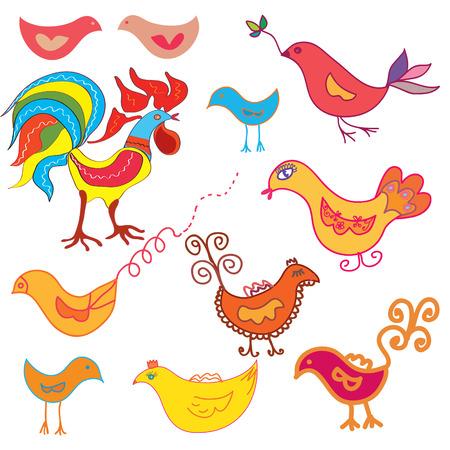 cock duck: Vector set of funny birds