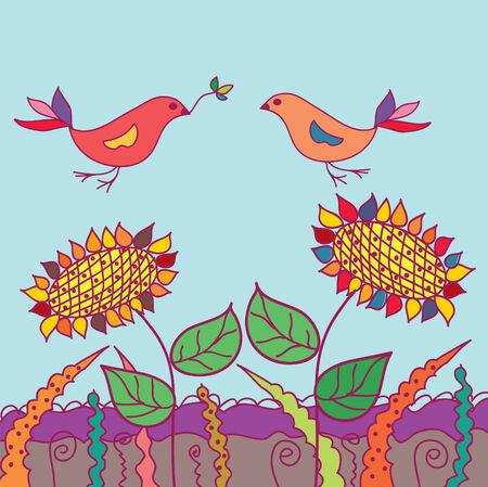 Divertida tarjeta con dos pájaros y flores