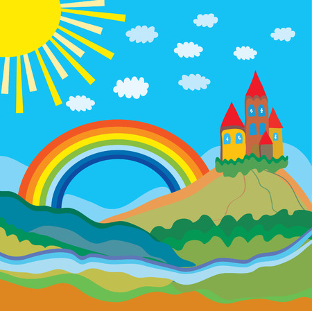 Funny cartoon background with castle and rainbow