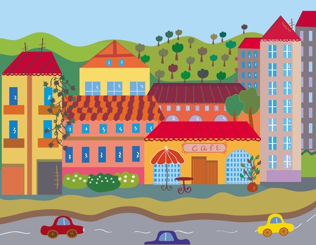 small roof: Cute bright city in summer