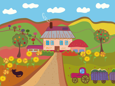 pink hills: Cartoon farm at the autumn Illustration