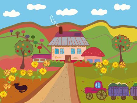 yellow tractor: Granja de dibujos animados en el oto�o