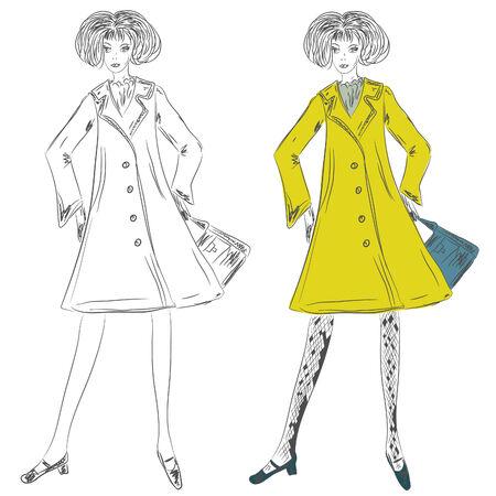 dress coat: Moda ragazza nello sketch cappotto