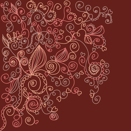 Floral dark background with hearts Stock Vector - 7778944