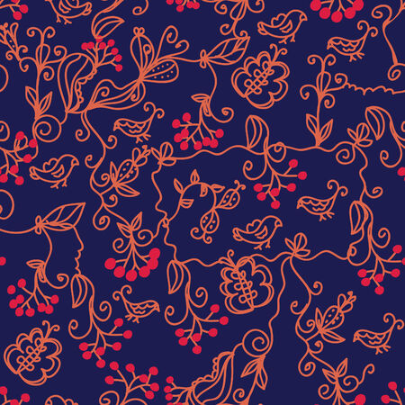 viburnum: Dark floral seamless pattern with birds and arrowwood