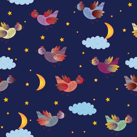 dark cloud: Cute patr�n transparente con aves fant�sticas en la noche