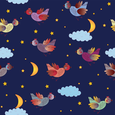 Cute seamless pattern with fantastic birds at night Vector