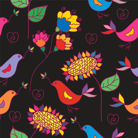 eywords background: Dark seamless floral pattern with traditional birds Illustration