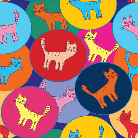 Cute  seamless pattern with cats and circles Stock Vector - 7778962