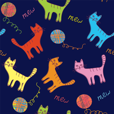 Cute cats and ball seamless dark  background Vector