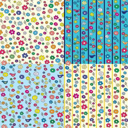 Set of floral seamless patterns with birds Stock Vector - 7779024