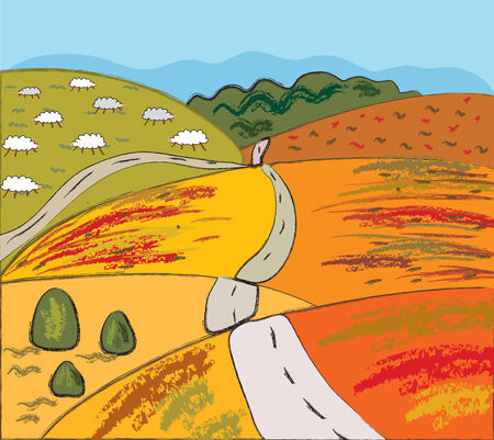 Autumn rural landscape with hills and road Stock Vector - 7779059