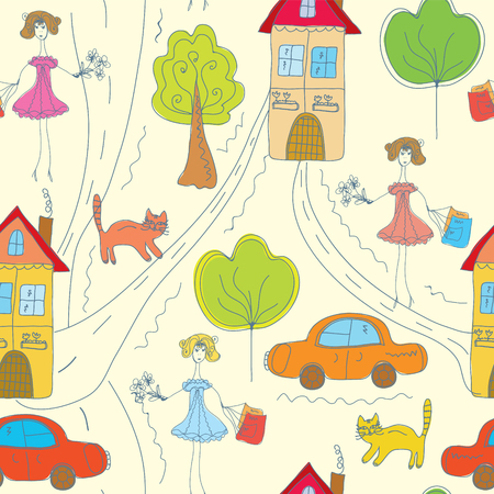 Funny color seamless pattern with girl in the town Vector