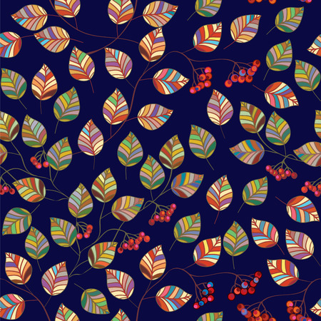 ethnic pattern: Autumn leaves seamless pattern