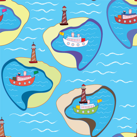 Funny sea seamless pattern with ships and  Vector