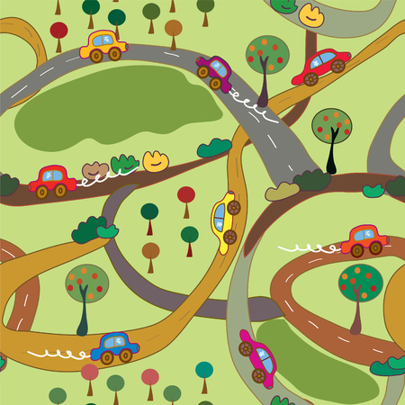 means of transport: Cartoon seamless pattern with cars and roads in the country