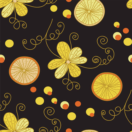 repetition: Vintage pattern with yellow flowers and lemon