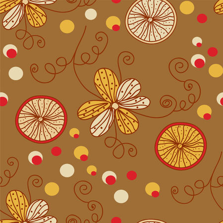 Retro pattern with flowers and lemon in brawn colors Stock Vector - 7779062