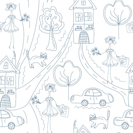 Seamless cute pattern with girl at the street with houses Vector