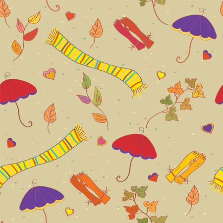 seasonal clothes: Fall accessories funny bright seamless pattern