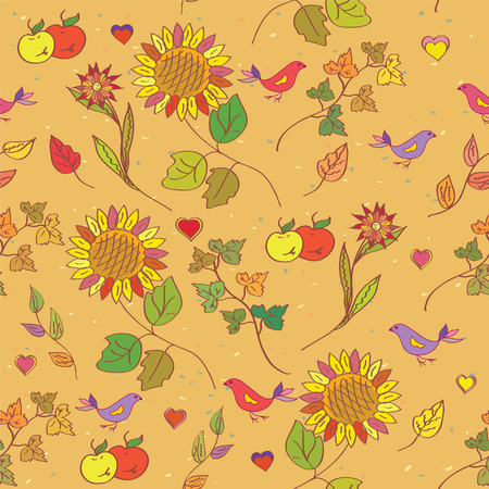 Autumn seamless pattern with flowers, leaves and birds Vector