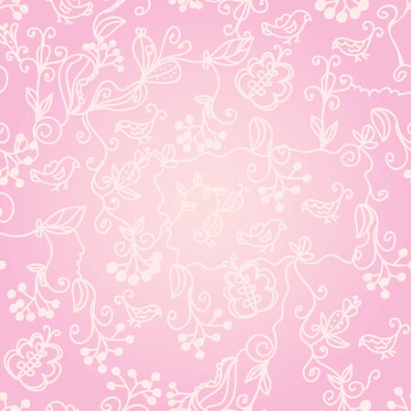 Floral ornate  pink seamless pattern with birds Vector