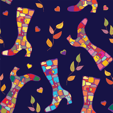 Seamless pattern with autumn boots and leaves Vector