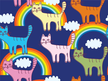Funny seamless pattern with cats and rainbow Vector