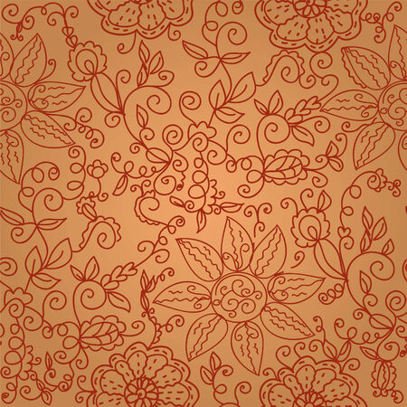 Brown floral seamless ornate pattern with swirls Stock Vector - 7937628