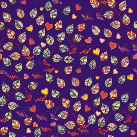 Autumn leaves seamless pattern with berries and hearts Vector